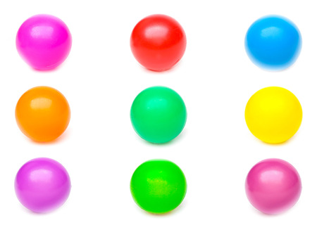 young add: colorful plastic balls isolated Stock Photo