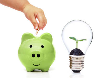 green power: Babys hand putting a golden coin to green piggy bank and a lightbulb with a tree inside - Living Green and Saving Energy