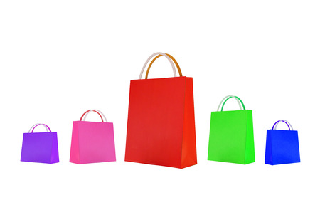 Colorful paper shopping bag isolated  Summer sale  Clearance sale concept Stock Photo