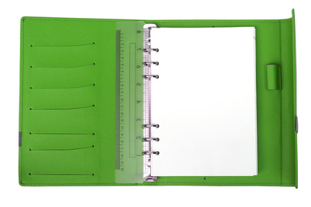 cardholder: Green notebook with white blank page