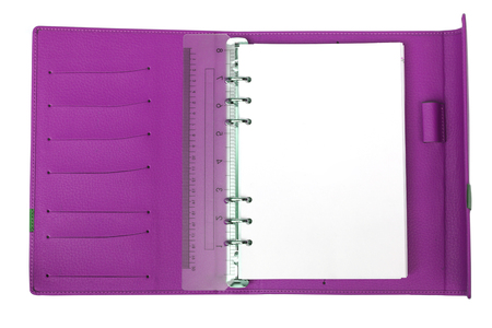 cardholder: Purple notebook with white blank page