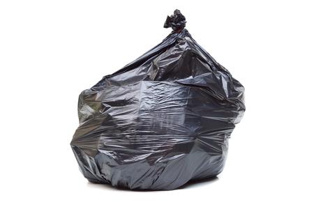black plastic garbage bag: Black plastic garbage bag isolated Stock Photo