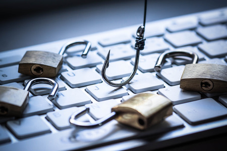 Phishing attack computer system Stock Photo