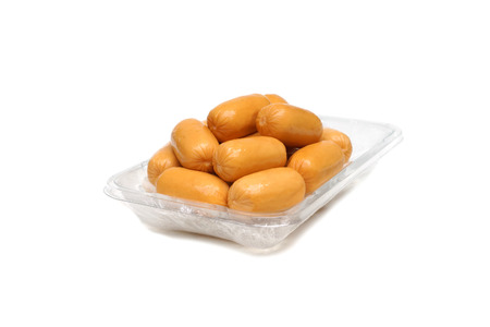plastic container: Hot dogs on plastic container
