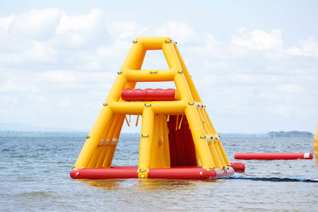 floating on water: Inflatable Floating Water Park Stock Photo