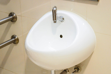 double sink: washbasin in a toilet Stock Photo