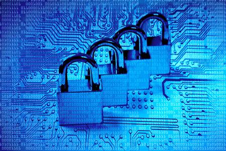 four metal locks on computer circuit board - computer security