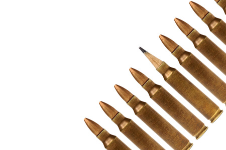 A rifle bullet with a pencil head  Idea is a powerful weapon concept