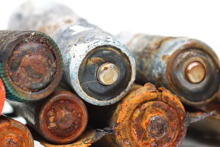 hazardous waste: old battery leak  hazardous waste concept