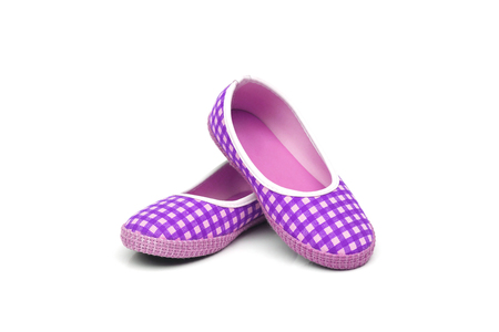purple shoes: Purple female shoes with check pattern isolated