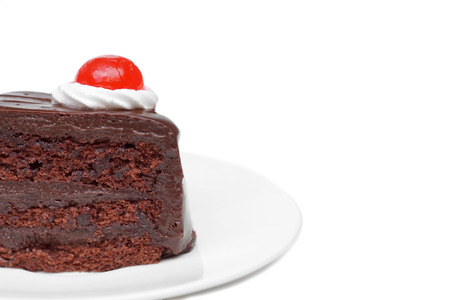 add text: Chocolate cake with red jelly on top isolated with blank space to add text