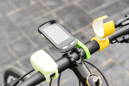 handlebar: Smartphone installed on a bicycles handlebar