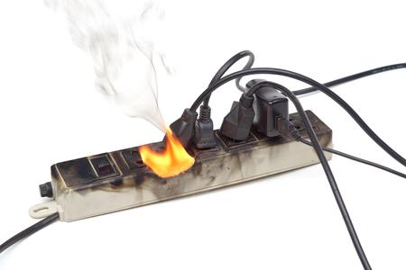 과열로 화재로 붙잡은 서지 방지기 스톡 콘텐츠