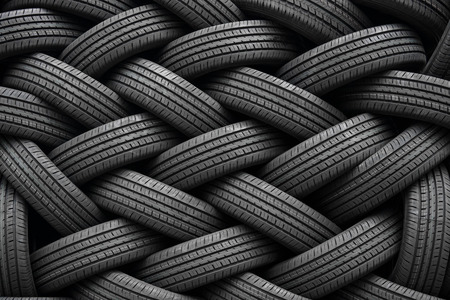 new automobile: A pile of new automobile tires Stock Photo