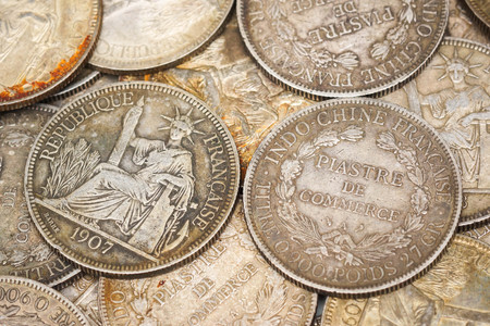 europe closeup: A French Indo-China Silver 1 Piastre Trade Dollar 1908  French Indochinese piastre