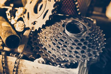 dientes sucios: Bicicleta vieja casete  bicicleta las piezas de desgaste