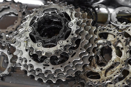 disassemble: Bicycle gear cassette disassemble Stock Photo