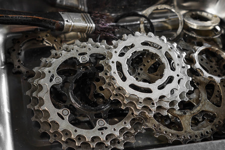 disassembled: Bicycle gear cassette disassembled Stock Photo