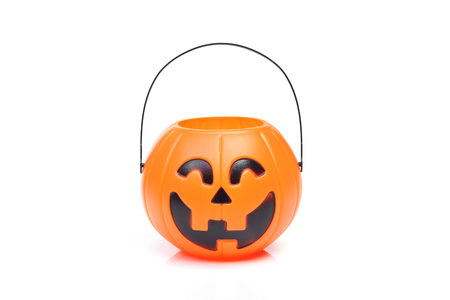 Halloween pumpkin basket for kids Stock Photo