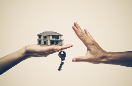 Buying a house  Cheating done by Construction contractor concept Stock Photo
