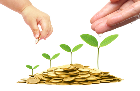 concern: Hands of a baby and adult watering green plants growing on a pile of golden coins  Green business and investment  Business with csr and environmental concern Stock Photo