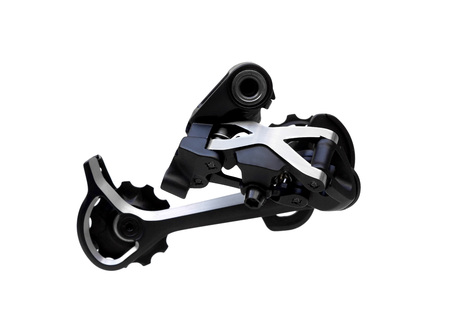 Bicycle rear derailleur for mountain bike isolated Stock Photo