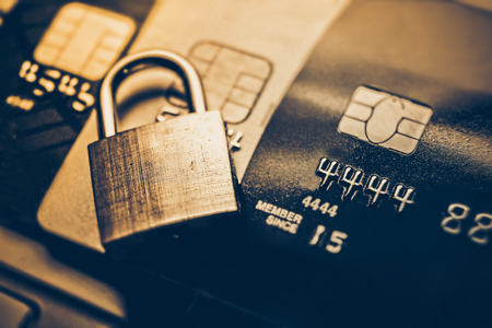Security lock on credit cards  Credit cards data encryption for security concept Stock Photo