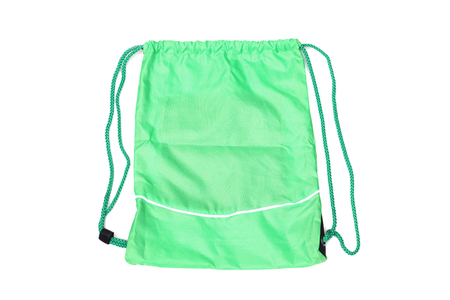 pack string: Green drawstring bags for people with an active lifestyle Stock Photo