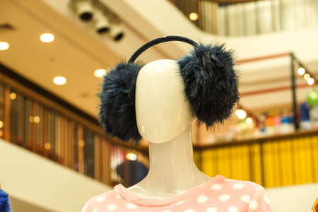 Ear muffs on model Stock Photo