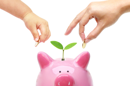 csr: Adult and baby doing green saving  Sustainable business