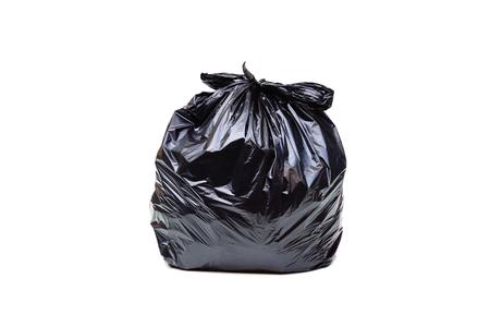 Zwarte geïsoleerde vuilniszak Stockfoto