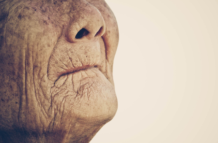 add text: Closeup mouth of elderly woman with space to add text