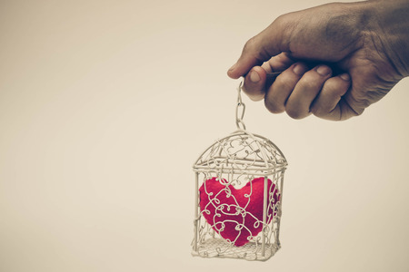 to get warm: A cage with a red heart inside  Heart in a cage concept Stock Photo