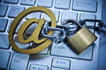 A fish hook with email sign on  computer keyboard  Email phishing attack concept Stock Photo