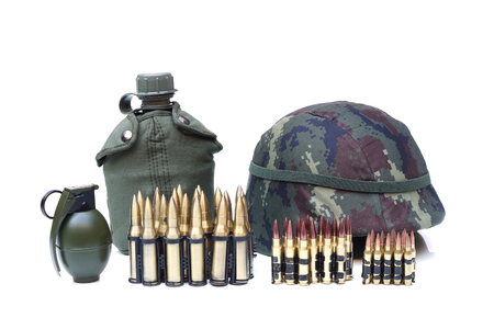 granade: Military equipment for soldier - ammo, genade, water bottle, helmet Stock Photo