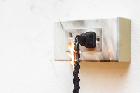 wall socket: Electricity short circuit  Electrical failure resulting in electricity wire burnt