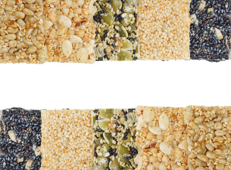 Different types of multi-grains bars isolated Stock Photo