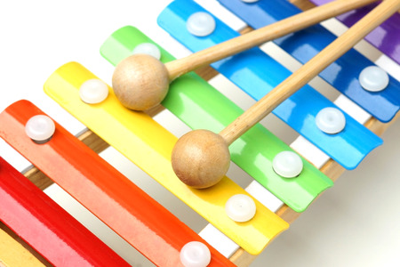 Small music xylophone baby percussion instrument closeup