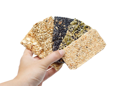 Different types of multi-grains bars Stock Photo