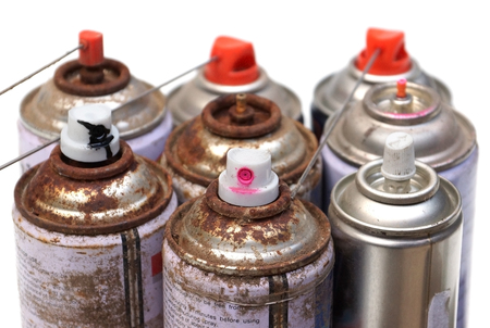 Household Hazardous Waste - aerosol cans Stock Photo