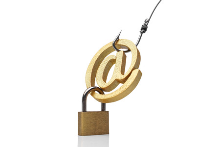 A fish hook with email sign  Online fraud  Email phishing attack concept