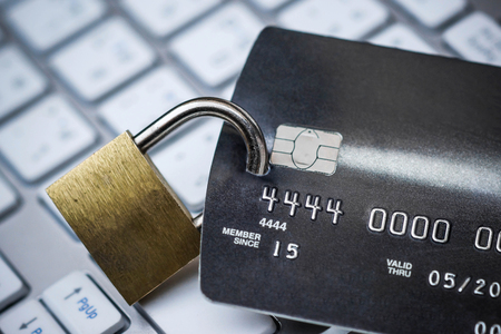 Credit card data security concept  Data encryption on credit card Stock Photo