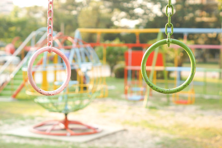 Colorful iron ring in the playground for kids Stock Photo