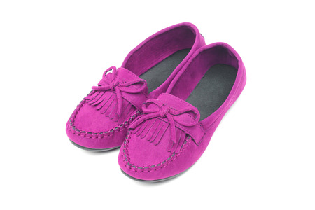 A pair of red moccasins isolated Stock Photo