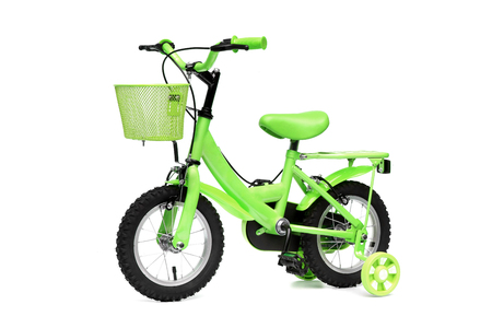 A green bike with training wheels on isolated background