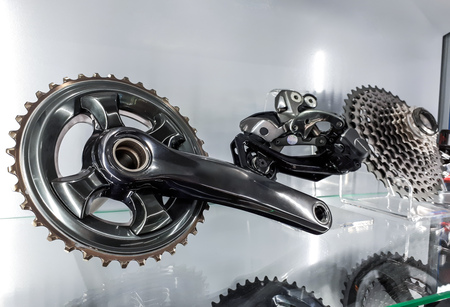 Bicycle crank and rear cassette for mountain bike cycling Stock Photo