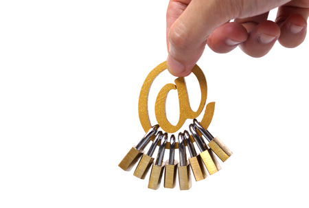 Hand holding email sign with many padlocks  Email security and countermeasure concept