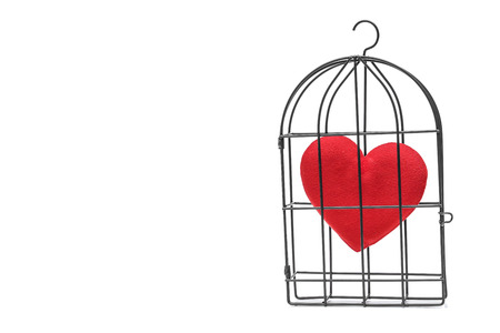 insincere: A bird cage with a red heart inside