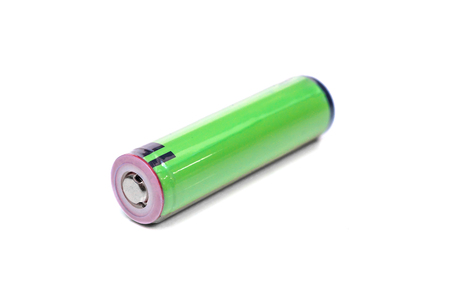 Green rechargeable battery isolated Stock Photo