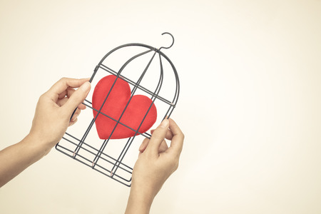 insincere: Hands holding a bird cage with a red heart inside  Forbidden love concept